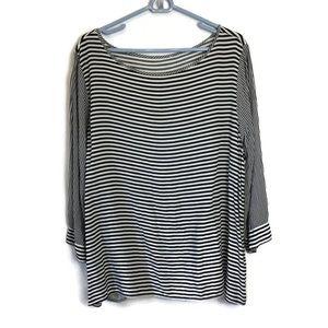 Cato Black White Stripe Blouse Plus Size
